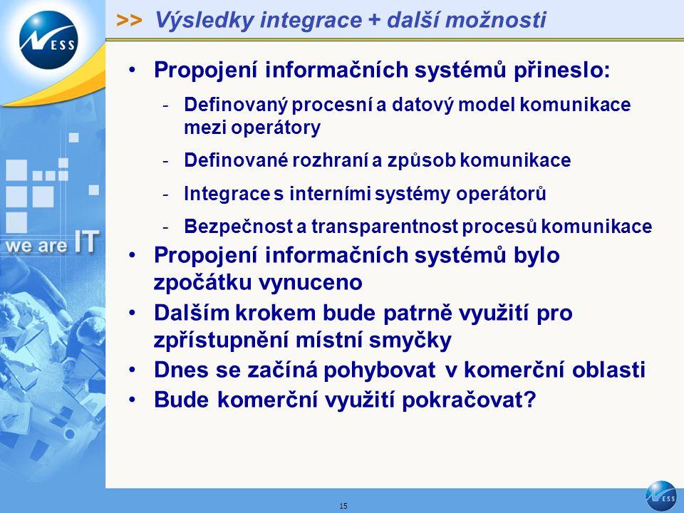 >> 15 Výsledky integrace + další možnosti Propojení informačních systémů přineslo: - Definovaný procesní a datový model komunikace mezi operátory - Definované rozhraní a způsob komunikace - Integrace s interními systémy operátorů - Bezpečnost a transparentnost procesů komunikace Propojení informačních systémů bylo zpočátku vynuceno Dalším krokem bude patrně využití pro zpřístupnění místní smyčky Dnes se začíná pohybovat v komerční oblasti Bude komerční využití pokračovat