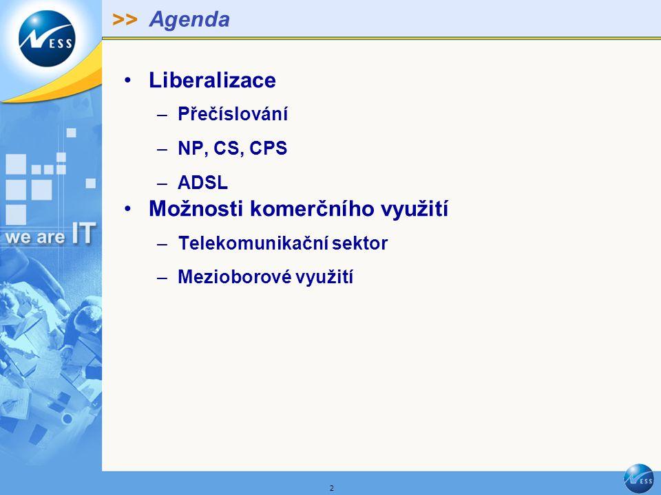 >> 2 Agenda Liberalizace –Přečíslování –NP, CS, CPS –ADSL Možnosti komerčního využití –Telekomunikační sektor –Mezioborové využití