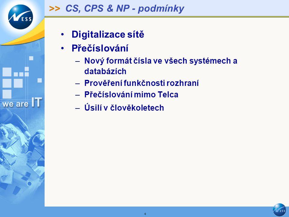 >> 4 CS, CPS & NP - podmínky Digitalizace sítě Přečíslování –Nový formát čísla ve všech systémech a databázích –Prověření funkčnosti rozhraní –Přečíslování mimo Telca –Úsilí v člověkoletech