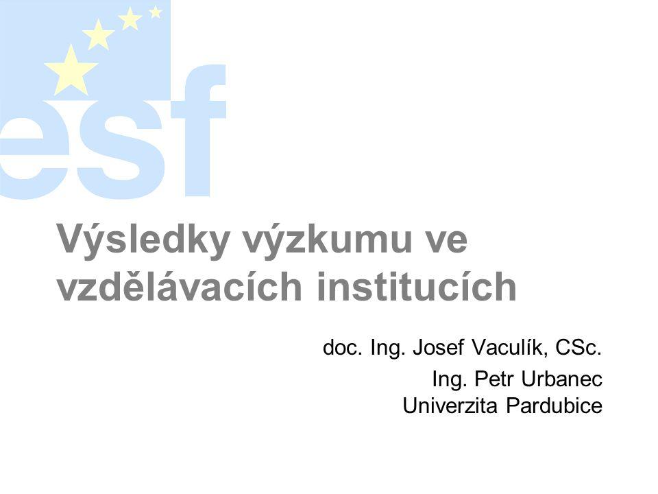 Výsledky výzkumu ve vzdělávacích institucích doc. Ing.
