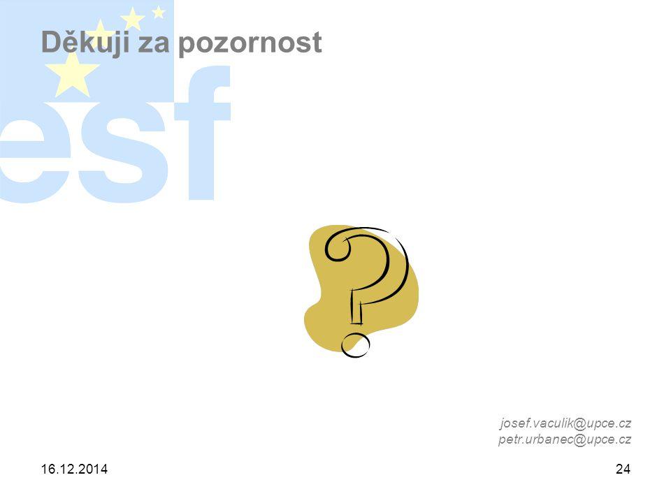 16.12.201424 Děkuji za pozornost josef.vaculik@upce.cz petr.urbanec@upce.cz