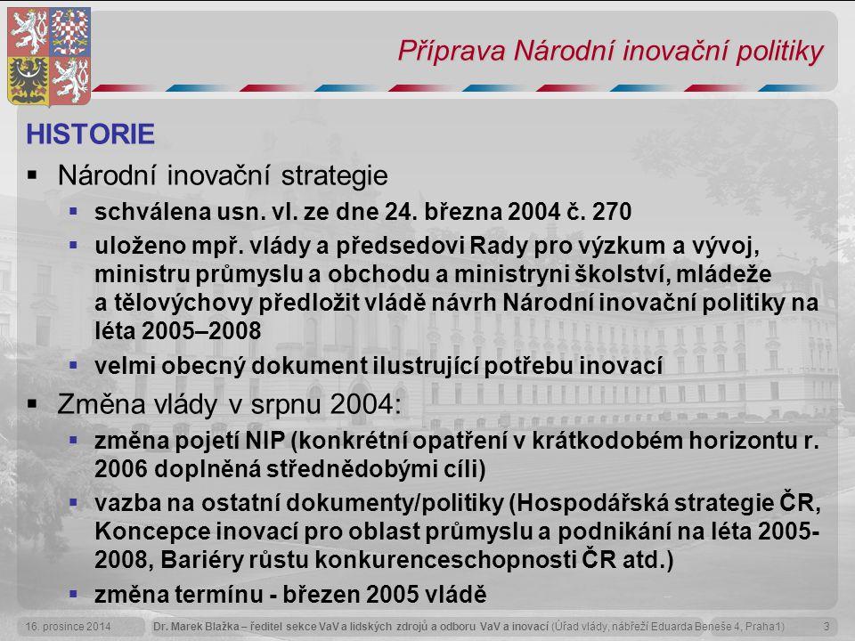 Dr. Marek Blažka – ředitel sekce VaV a lidských zdrojů a odboru VaV a inovací (Úřad vlády, nábřeží Eduarda Beneše 4, Praha1)16. prosince 20143 Příprav