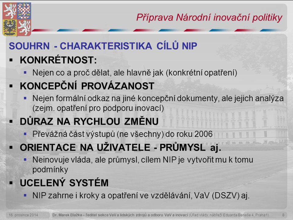 Dr. Marek Blažka – ředitel sekce VaV a lidských zdrojů a odboru VaV a inovací (Úřad vlády, nábřeží Eduarda Beneše 4, Praha1)16. prosince 20148 Příprav