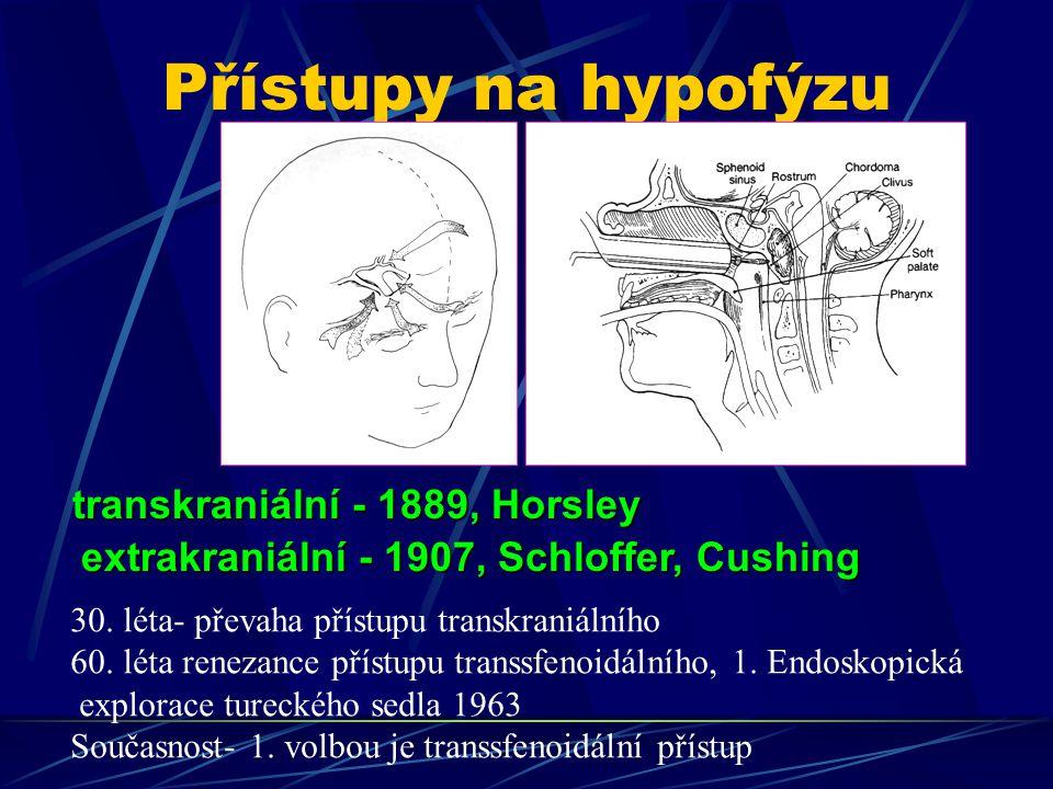 Přístupy na hypofýzu transkraniální - 1889, Horsley extrakraniální - 1907, Schloffer, Cushing 30.