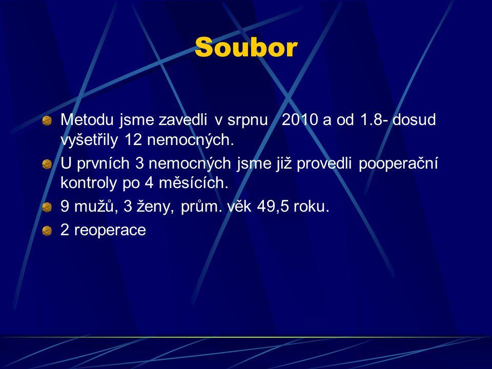 Soubor Metodu jsme zavedli v srpnu 2010 a od 1.8- dosud vyšetřily 12 nemocných.