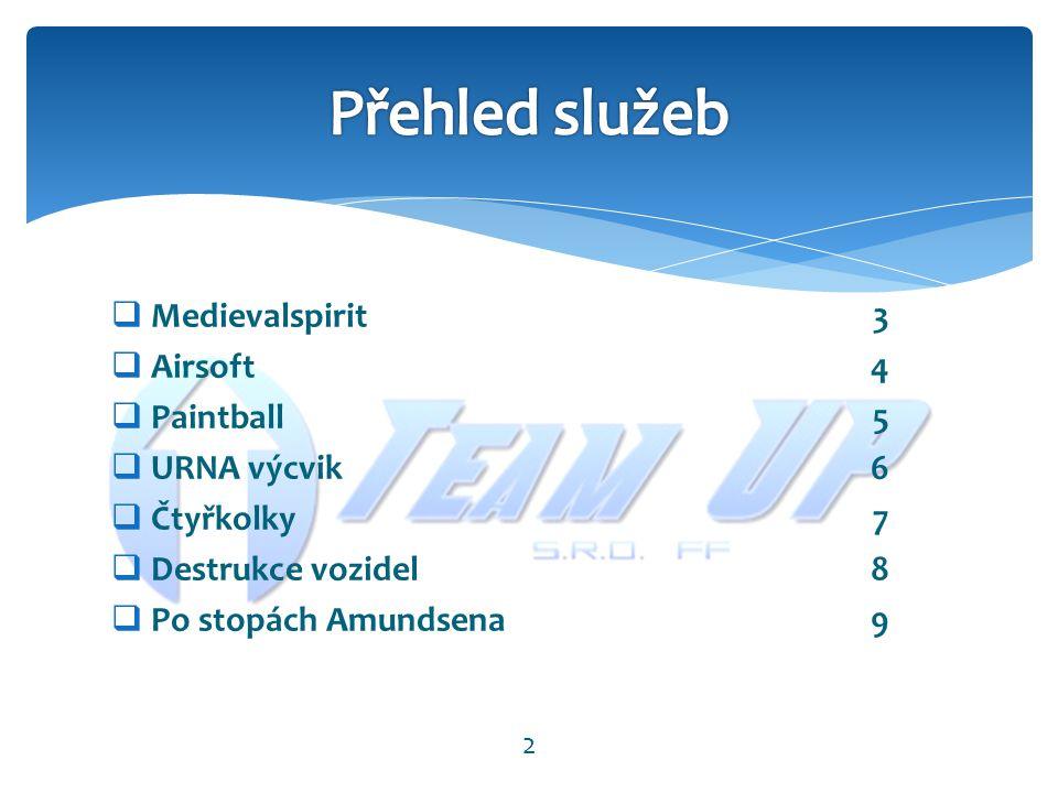  Medievalspirit3  Airsoft4  Paintball5  URNA výcvik6  Čtyřkolky7  Destrukce vozidel8  Po stopách Amundsena9 2