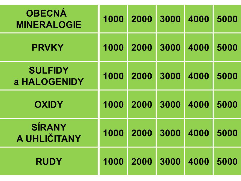 OBECNÁ MINERALOGIE 1000 2000 PRVKY SULFIDY a HALOGENIDY OXIDY SÍRANY A UHLIČITANY RUDY1000 2000 3000 4000 3000 4000 5000 40005000