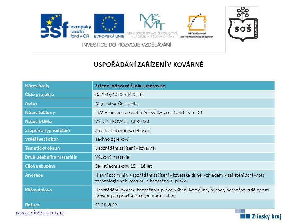 USPOŘÁDÁNÍ ZAŘÍZENÍ V KOVÁRNĚ www.zlinskedumy.cz Název školyStřední odborná škola Luhačovice Číslo projektuCZ.1.07/1.5.00/34.0370 AutorMgr.