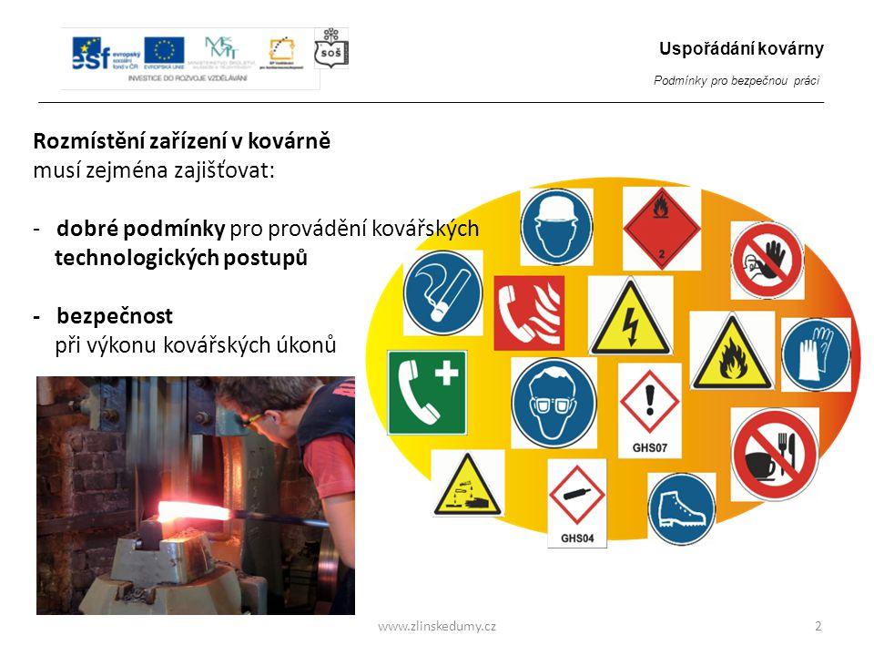 Rozmístění zařízení v kovárně musí zejména zajišťovat: - dobré podmínky pro provádění kovářských technologických postupů - bezpečnost při výkonu kovářských úkonů www.zlinskedumy.cz2 Uspořádání kovárny Podmínky pro bezpečnou práci