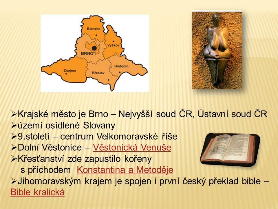  Krajské město je Brno – Nejvyšší soud ČR, Ústavní soud ČR  území osídlené Slovany  9.století – centrum Velkomoravské říše  Dolní Věstonice – Věst