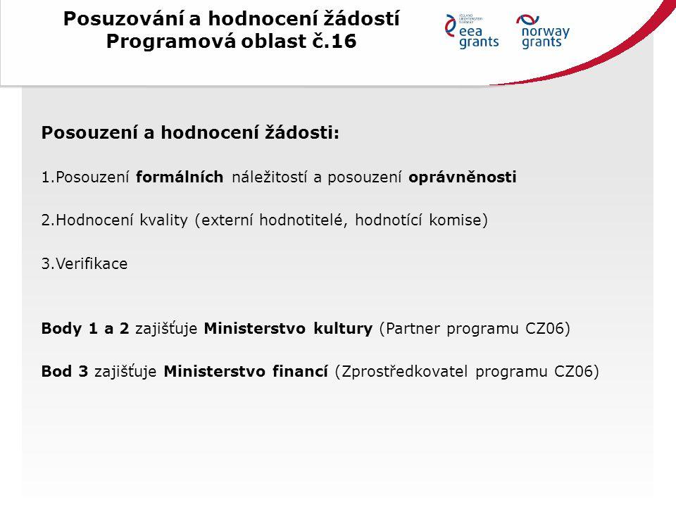 Posuzování a hodnocení žádostí Programová oblast č.16 Posouzení a hodnocení žádosti: 1.Posouzení formálních náležitostí a posouzení oprávněnosti 2.Hodnocení kvality (externí hodnotitelé, hodnotící komise) 3.Verifikace Body 1 a 2 zajišťuje Ministerstvo kultury (Partner programu CZ06) Bod 3 zajišťuje Ministerstvo financí (Zprostředkovatel programu CZ06)