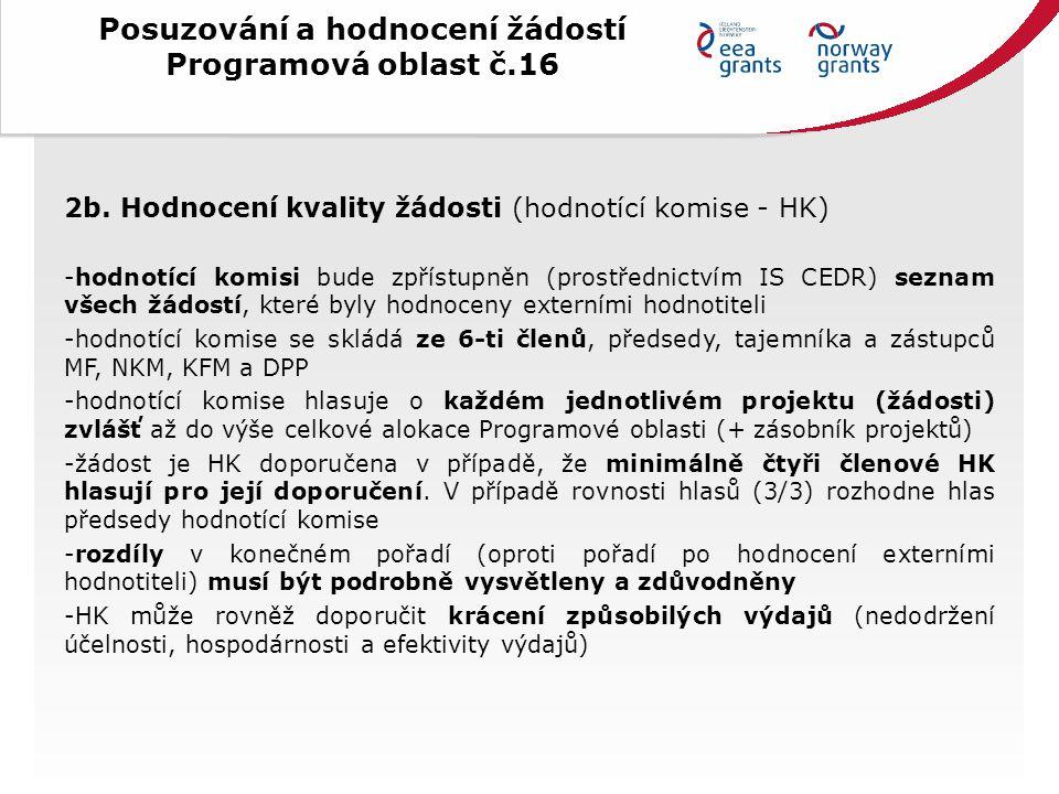Posuzování a hodnocení žádostí Programová oblast č.16 3.