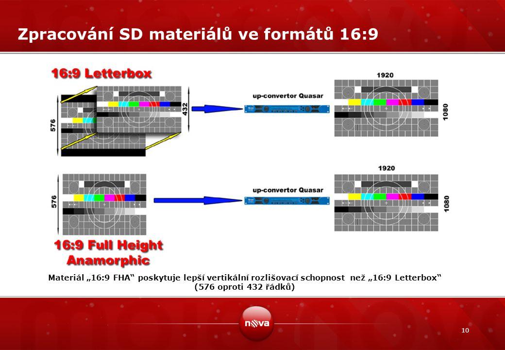 """10 Zpracování SD materiálů ve formátů 16:9 Materiál """"16:9 FHA"""" poskytuje lepší vertikální rozlišovací schopnost než """"16:9 Letterbox"""" (576 oproti 432 ř"""