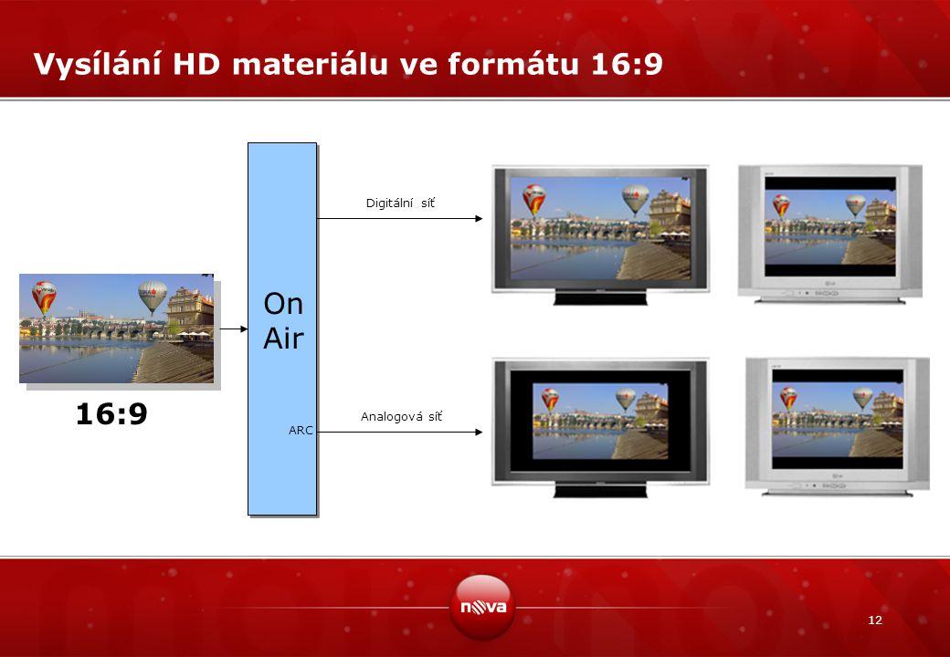 12 Vysílání HD materiálu ve formátu 16:9 On Air ARC Digitální síť Analogová síť 16:9
