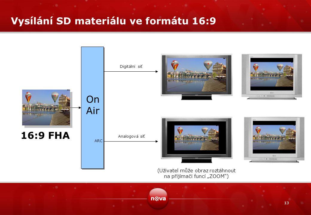 """13 Vysílání SD materiálu ve formátu 16:9 On Air ARC Digitální siť Analogová síť 16:9 FHA (Uživatel může obraz roztáhnout na přijímači funcí """"ZOOM"""")"""