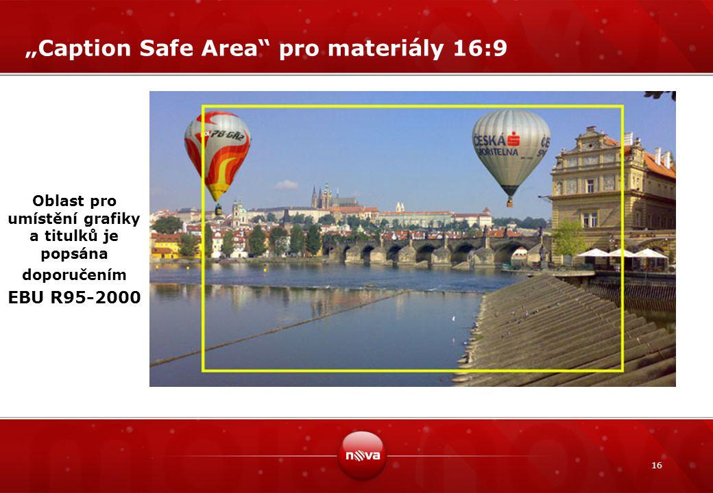 """16 """"Caption Safe Area"""" pro materiály 16:9 Oblast pro umístění grafiky a titulků je popsána doporučením EBU R95-2000"""