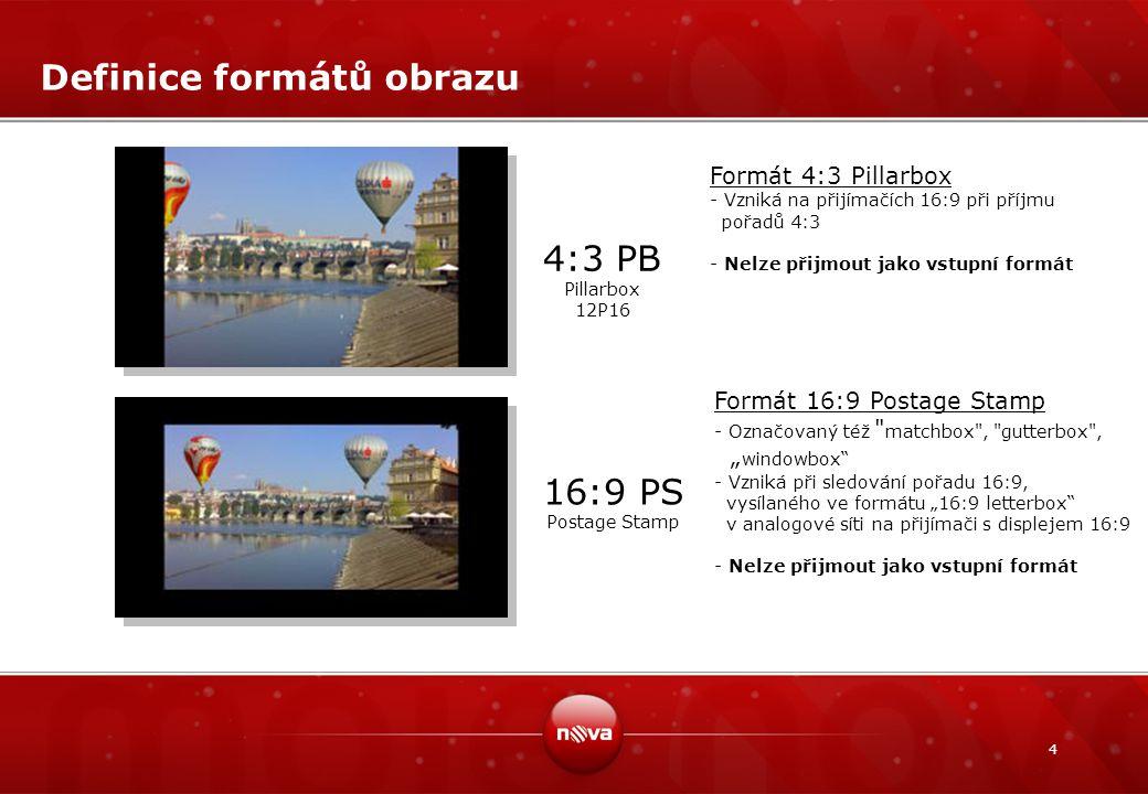 4 Definice formátů obrazu 4:3 PB Pillarbox 12P16 16:9 PS Postage Stamp Formát 4:3 Pillarbox - Vzniká na přijímačích 16:9 při příjmu pořadů 4:3 - Nelze