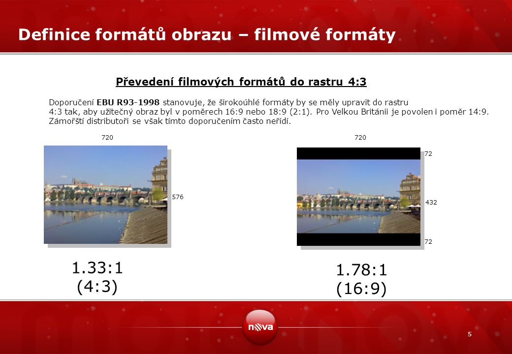 5 Definice formátů obrazu – filmové formáty 1.78:1 (16:9) 1.33:1 (4:3) Převedení filmových formátů do rastru 4:3 72 432 72 720 576 Doporučení EBU R93-