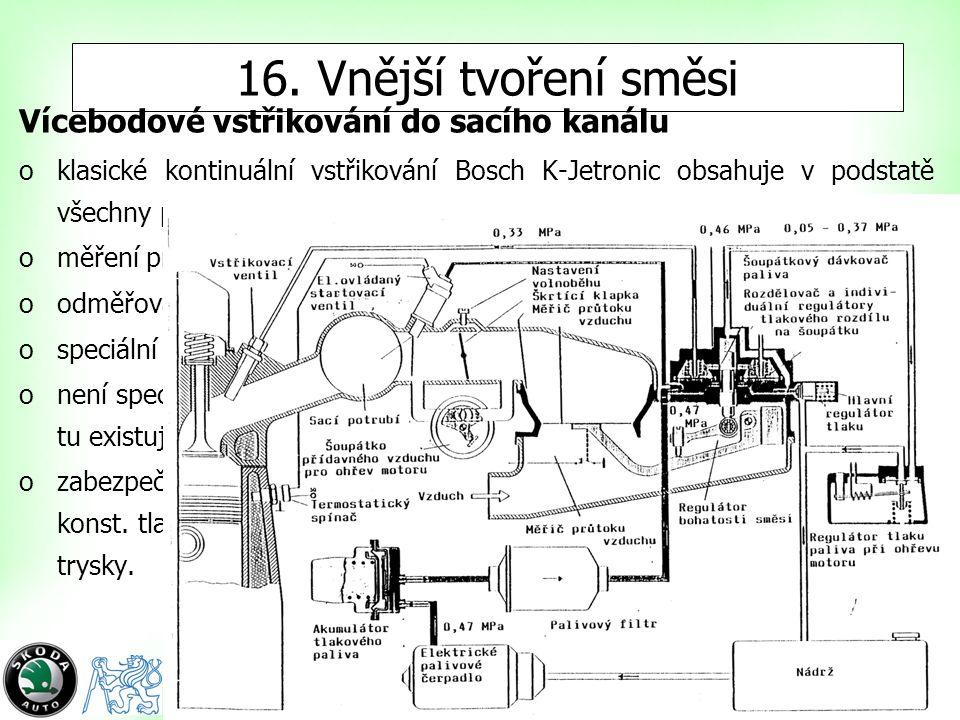 3 16. Vnější tvoření směsi Vícebodové vstřikování do sacího kanálu oklasické kontinuální vstřikování Bosch K-Jetronic obsahuje v podstatě všechny prvk
