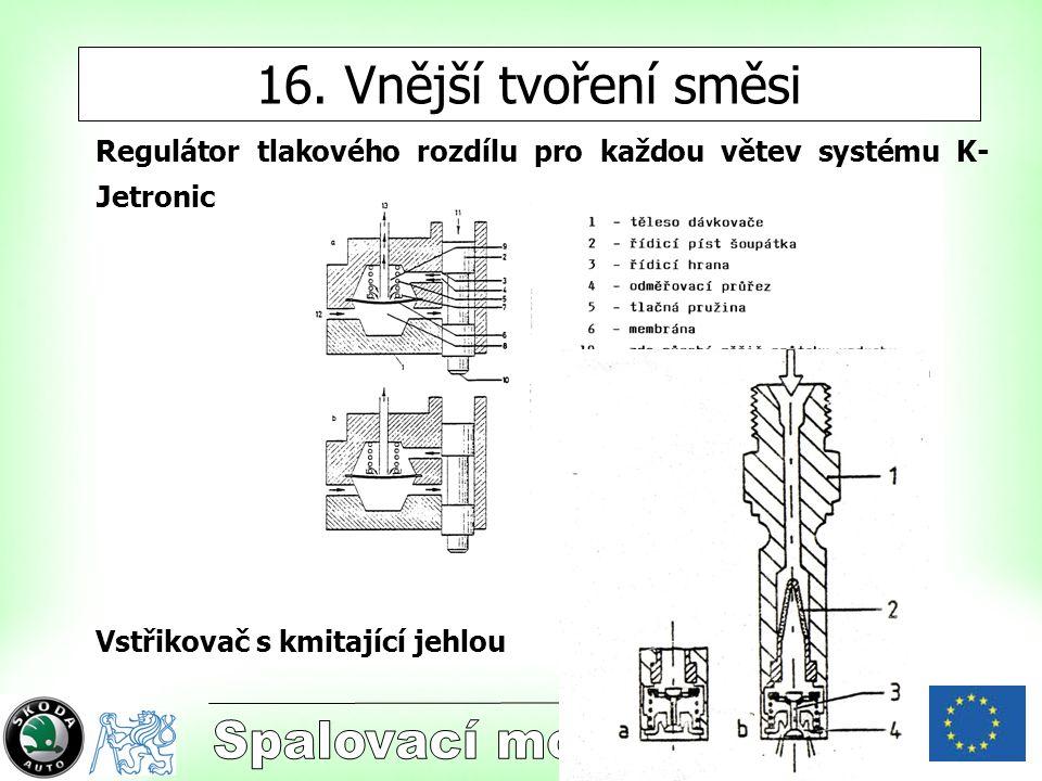 4 16. Vnější tvoření směsi Regulátor tlakového rozdílu pro každou větev systému K- Jetronic Vstřikovač s kmitající jehlou