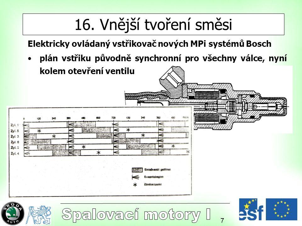 7 16. Vnější tvoření směsi Elektricky ovládaný vstřikovač nových MPi systémů Bosch plán vstřiku původně synchronní pro všechny válce, nyní kolem otevř