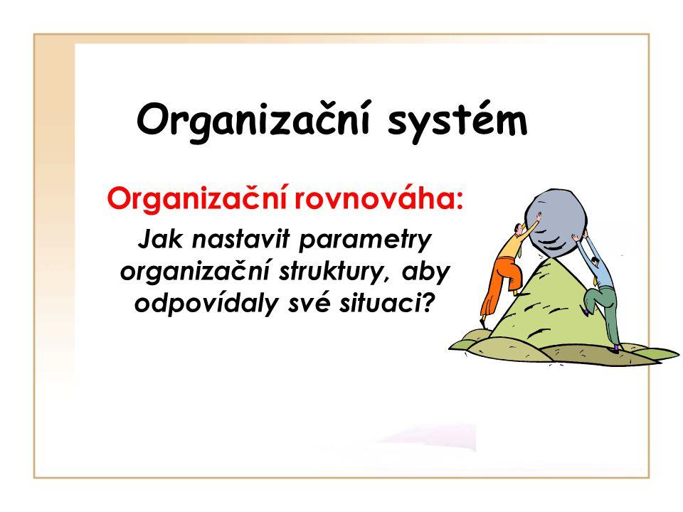 Organizační systém Organizační rovnováha: Jak nastavit parametry organizační struktury, aby odpovídaly své situaci?