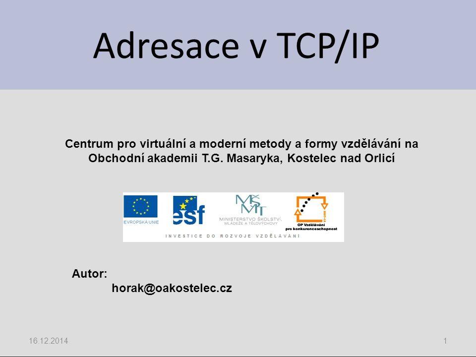 Adresace v TCP/IP 16.12.20141 Centrum pro virtuální a moderní metody a formy vzdělávání na Obchodní akademii T.G. Masaryka, Kostelec nad Orlicí Autor: