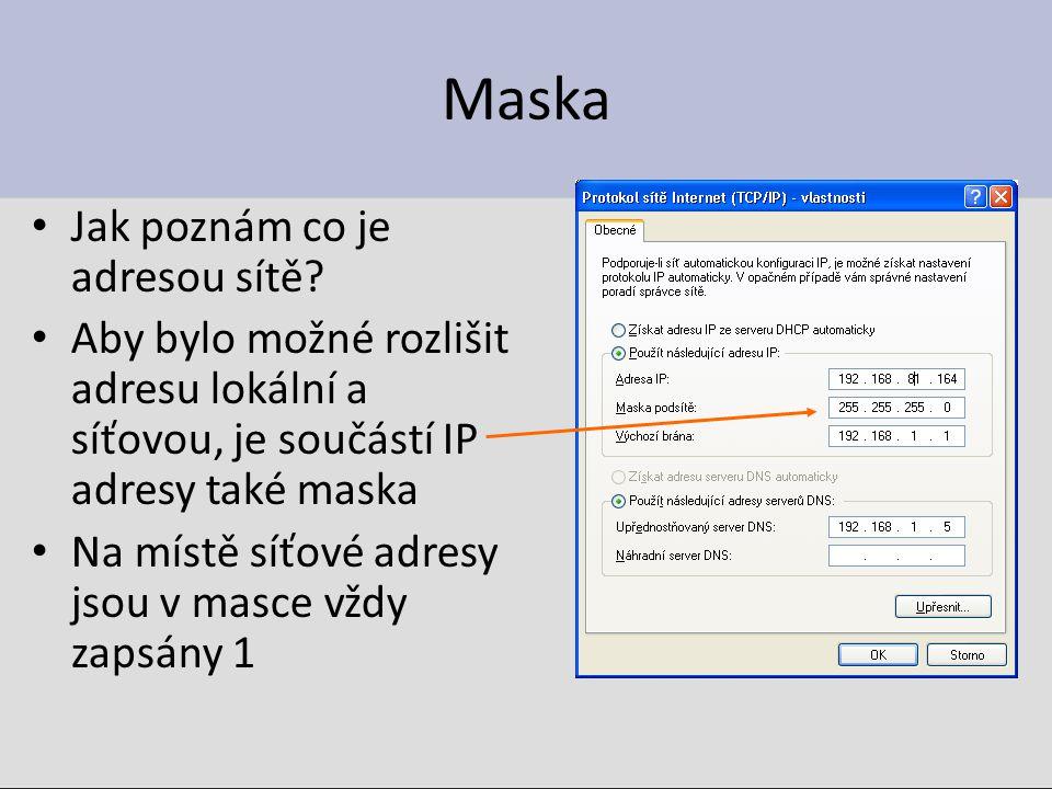 Maska Jak poznám co je adresou sítě? Aby bylo možné rozlišit adresu lokální a síťovou, je součástí IP adresy také maska Na místě síťové adresy jsou v