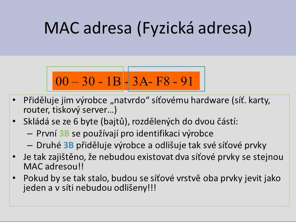 """MAC adresa (Fyzická adresa) Přiděluje jim výrobce """"natvrdo"""" síťovému hardware (síť. karty, router, tiskový server…) Skládá se ze 6 byte (bajtů), rozdě"""