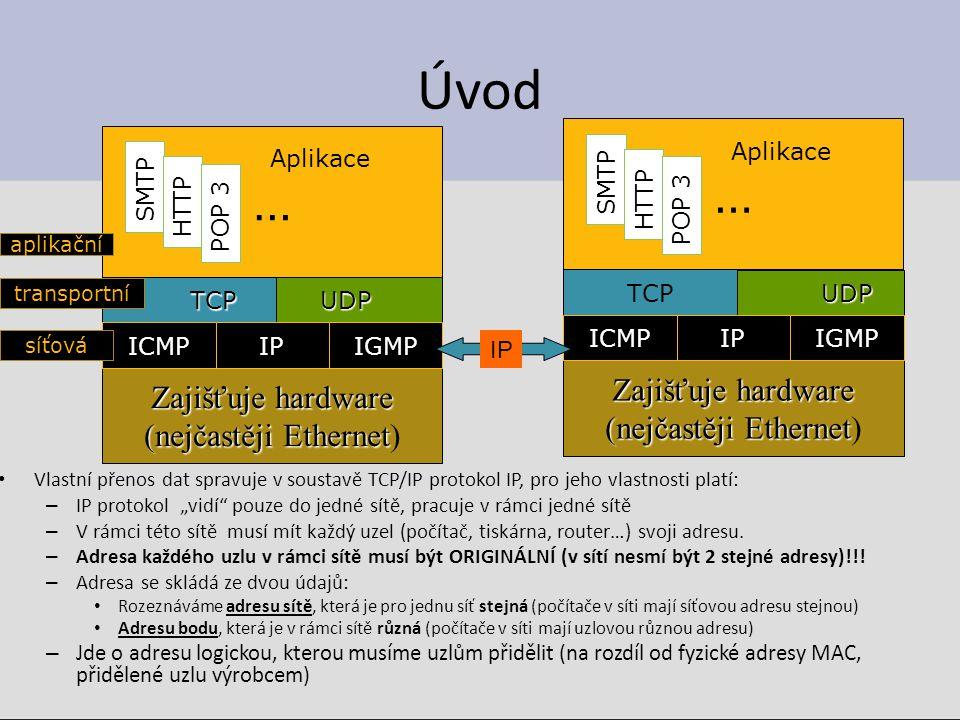 """Úvod Vlastní přenos dat spravuje v soustavě TCP/IP protokol IP, pro jeho vlastnosti platí: – IP protokol """"vidí"""" pouze do jedné sítě, pracuje v rámci j"""