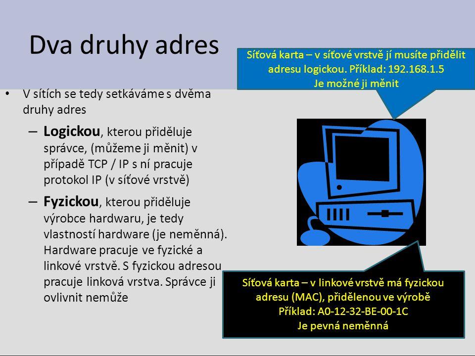 Dva druhy adres V sítích se tedy setkáváme s dvěma druhy adres – Logickou, kterou přiděluje správce, (můžeme ji měnit) v případě TCP / IP s ní pracuje protokol IP (v síťové vrstvě) – Fyzickou, kterou přiděluje výrobce hardwaru, je tedy vlastností hardware (je neměnná).