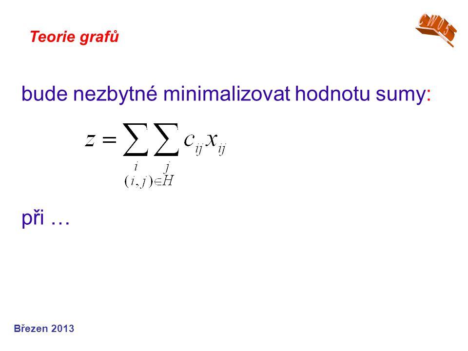 Teorie grafů Březen 2013 bude nezbytné minimalizovat hodnotu sumy: při …