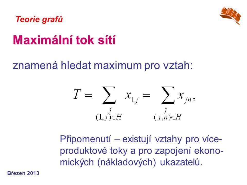 Maximální tok sítí Maximální tok sítí znamená hledat maximum pro vztah: Teorie grafů Březen 2013 Připomenutí – existují vztahy pro více- produktové to