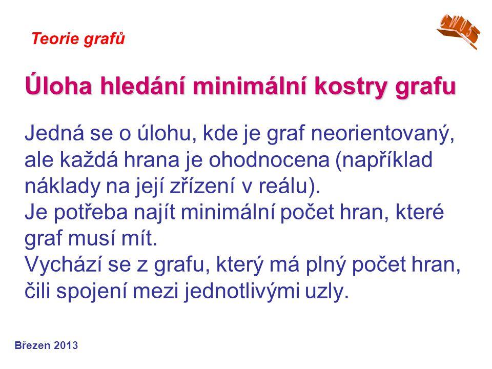 Úloha hledání minimální kostry grafu Úloha hledání minimální kostry grafu Jedná se o úlohu, kde je graf neorientovaný, ale každá hrana je ohodnocena (