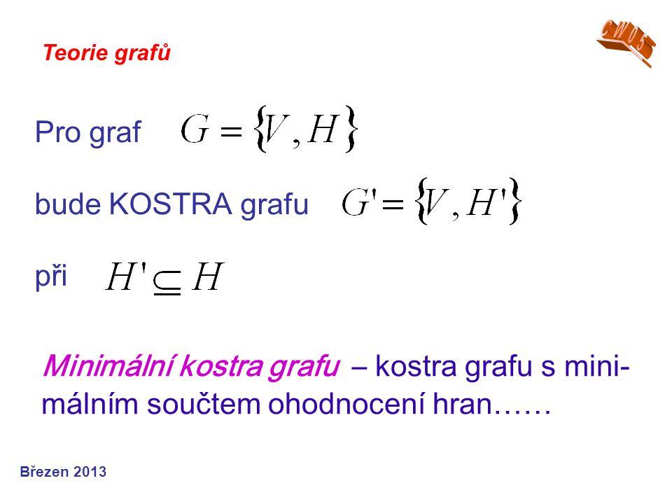 Pro graf bude KOSTRA grafu při Teorie grafů Březen 2013 Minimální kostra grafu – kostra grafu s mini - málním součtem ohodnocení hran ……