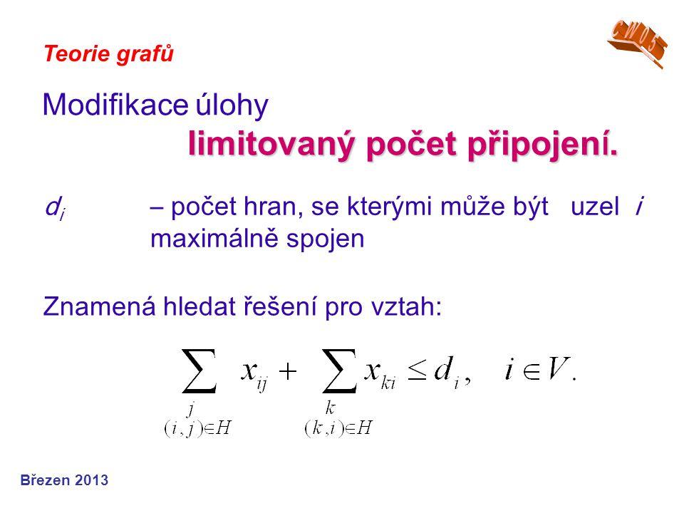 Teorie grafů Březen 2013 d i – počet hran, se kterými může být uzel i maximálně spojen Modifikace úlohy limitovaný počet připojen í. Znamená hledat ře