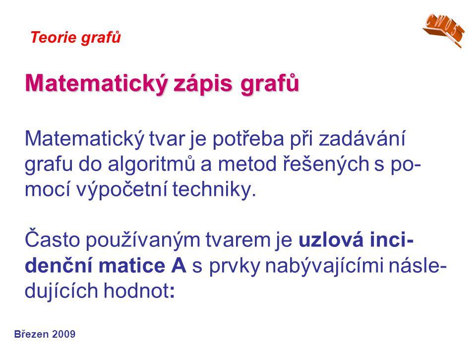 Matematický zápis grafů Matematický zápis grafů Matematický tvar je potřeba při zadávání grafu do algoritmů a metod řešených s po- mocí výpočetní tech