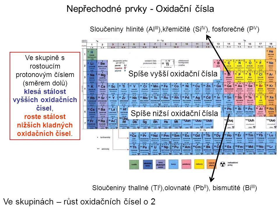 Nepřechodné prvky - Oxidační čísla Sloučeniny thallné (Tl I ),olovnaté (Pb II ), bismutité (Bi III ) Sloučeniny hlinité (Al III ),křemičité (Si IV ),