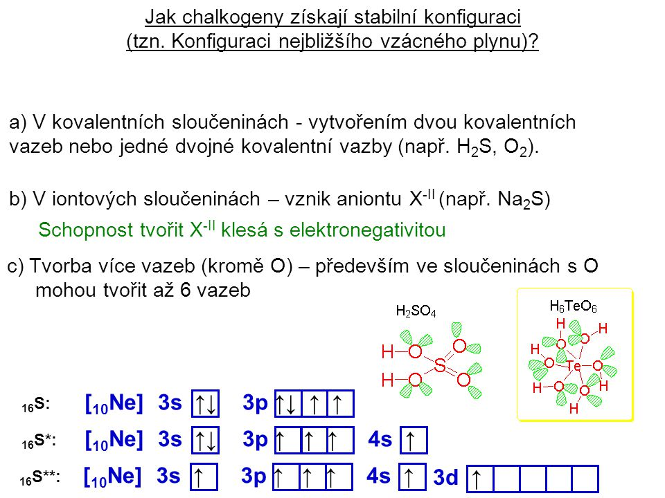 Jak chalkogeny získají stabilní konfiguraci (tzn. Konfiguraci nejbližšího vzácného plynu)? a) V kovalentních sloučeninách - vytvořením dvou kovalentní