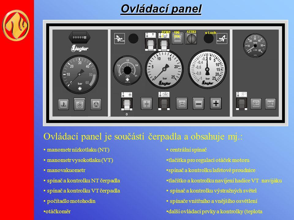 Ovládací panel 17783 2 s Loch 196 774 22361 2 Ovládací panel je součástí čerpadla a obsahuje mj.: manometr nízkotlaku (NT) manometr vysokotlaku (VT) m