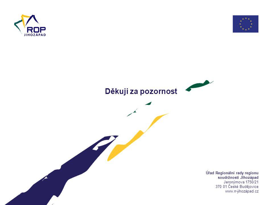 Úřad Regionální rady regionu soudržnosti Jihozápad Jeronýmova 1750/21 370 01 České Budějovice www.rr-jihozápad.cz Děkuji za pozornost