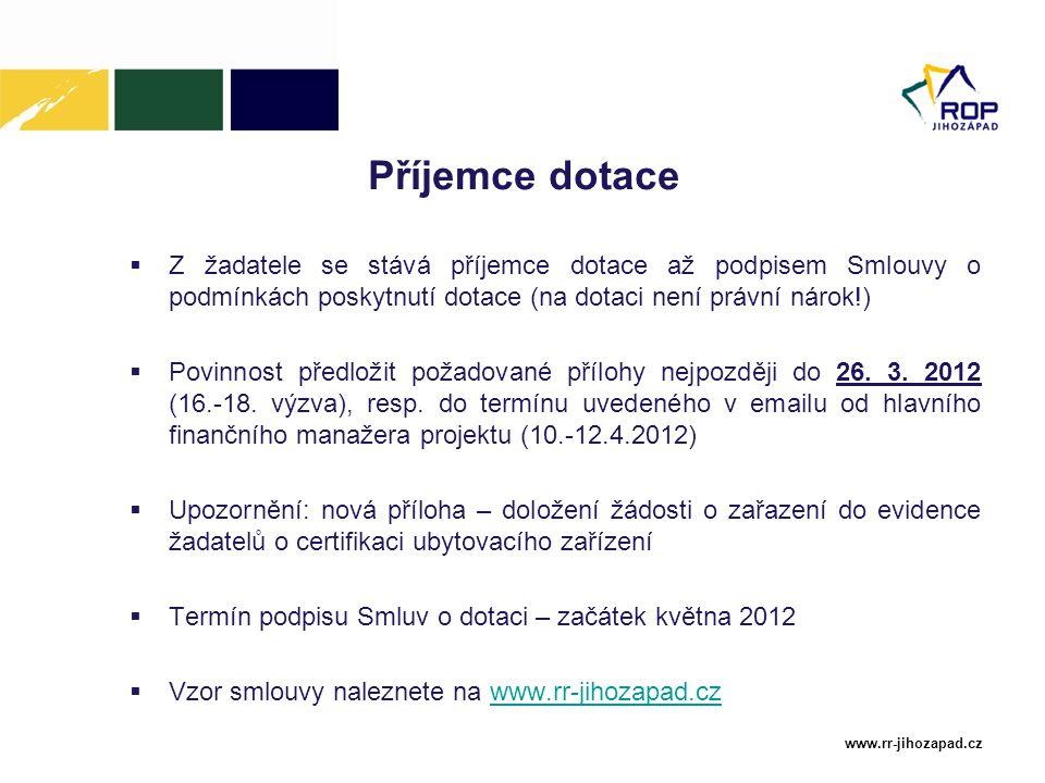 www.rr-jihozapad.cz Příjemce dotace  Z žadatele se stává příjemce dotace až podpisem Smlouvy o podmínkách poskytnutí dotace (na dotaci není právní nárok!)  Povinnost předložit požadované přílohy nejpozději do 26.