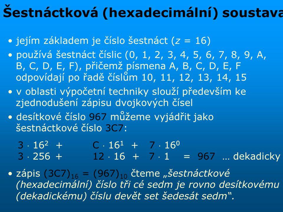 Šestnáctková (hexadecimální) soustava jejím základem je číslo šestnáct (z = 16) používá šestnáct číslic (0, 1, 2, 3, 4, 5, 6, 7, 8, 9, A, B, C, D, E,
