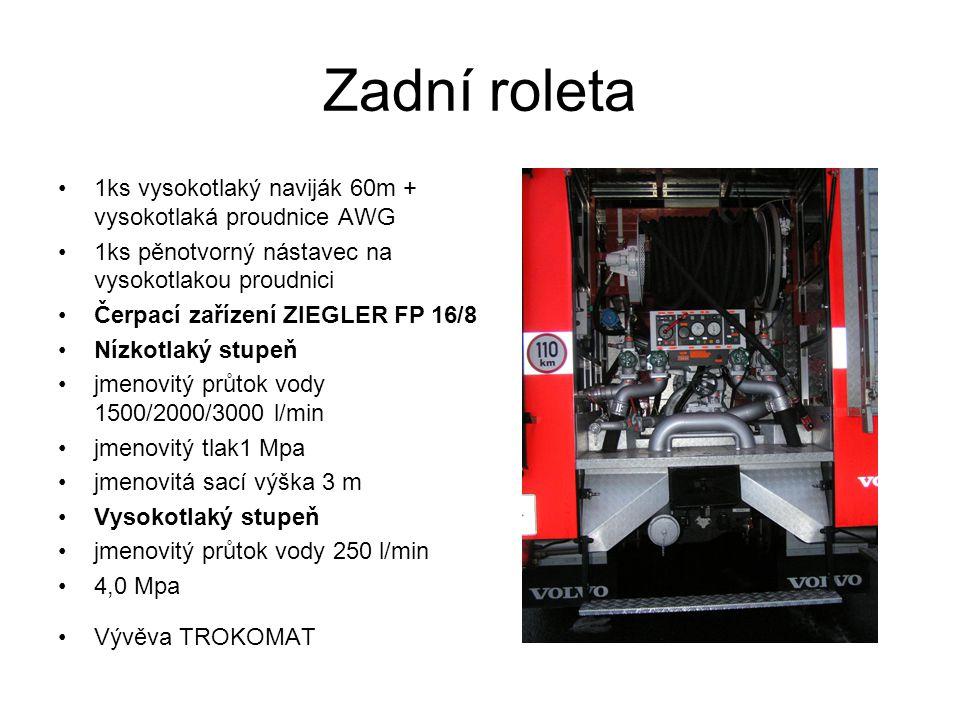 Zadní roleta 1ks vysokotlaký naviják 60m + vysokotlaká proudnice AWG 1ks pěnotvorný nástavec na vysokotlakou proudnici Čerpací zařízení ZIEGLER FP 16/