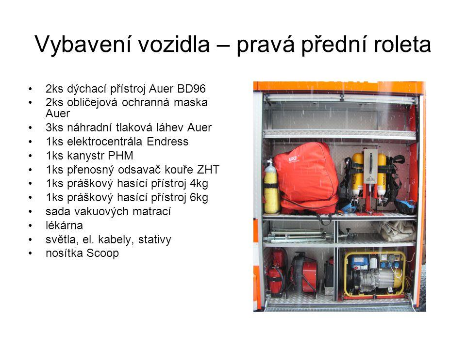 Vybavení vozidla – pravá přední roleta 2ks dýchací přístroj Auer BD96 2ks obličejová ochranná maska Auer 3ks náhradní tlaková láhev Auer 1ks elektrocentrála Endress 1ks kanystr PHM 1ks přenosný odsavač kouře ZHT 1ks práškový hasící přístroj 4kg 1ks práškový hasící přístroj 6kg sada vakuových matrací lékárna světla, el.