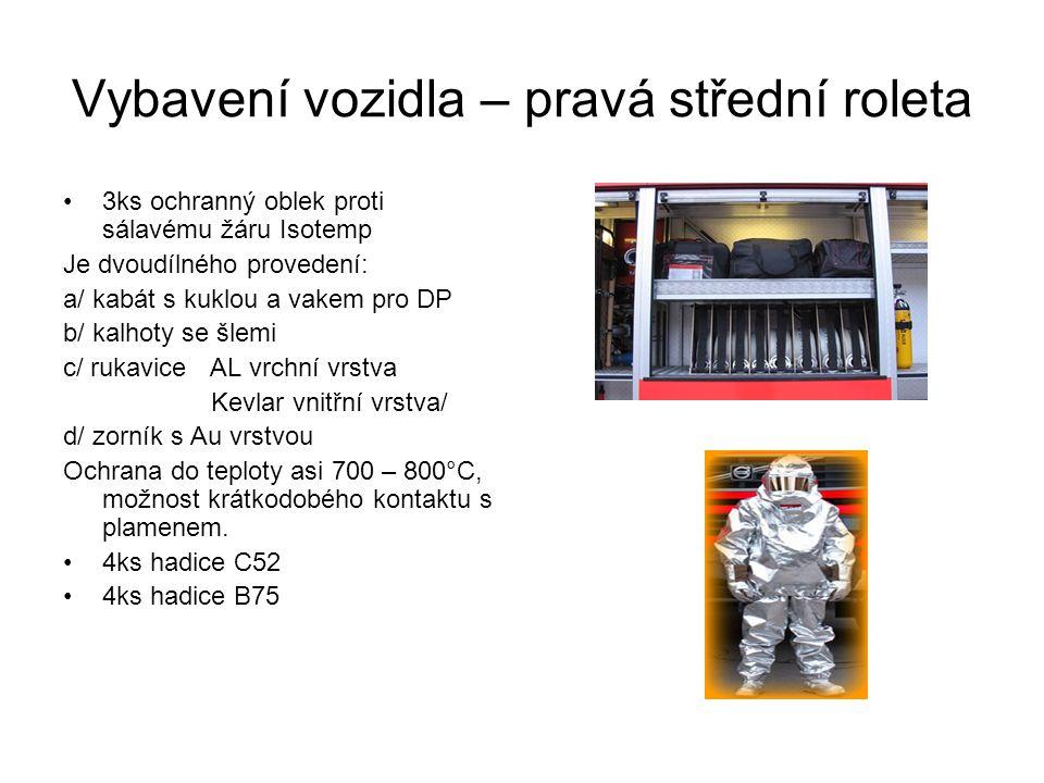 Vybavení vozidla – pravá střední roleta 3ks ochranný oblek proti sálavému žáru Isotemp Je dvoudílného provedení: a/ kabát s kuklou a vakem pro DP b/ k