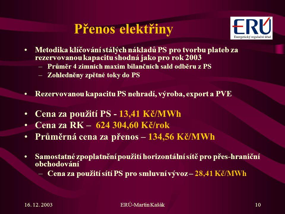 16. 12. 2003ERÚ-Martin Kašák10 Přenos elektřiny Metodika klíčování stálých nákladů PS pro tvorbu plateb za rezervovanou kapacitu shodná jako pro rok 2