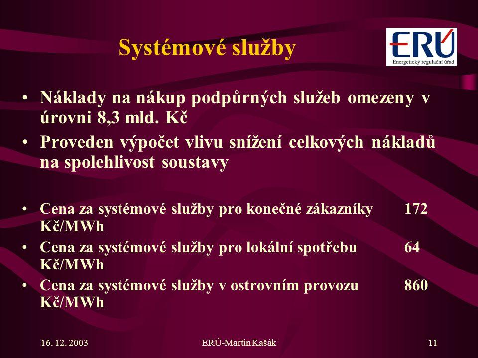 16. 12. 2003ERÚ-Martin Kašák11 Systémové služby Náklady na nákup podpůrných služeb omezeny v úrovni 8,3 mld. Kč Proveden výpočet vlivu snížení celkový