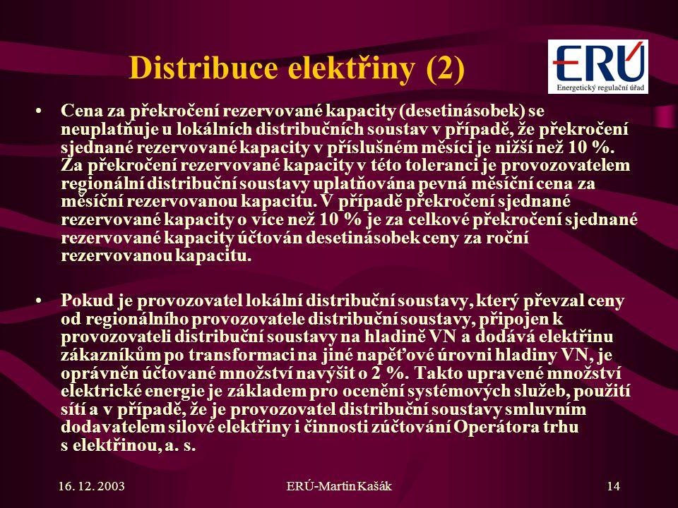 16. 12. 2003ERÚ-Martin Kašák14 Distribuce elektřiny (2) Cena za překročení rezervované kapacity (desetinásobek) se neuplatňuje u lokálních distribuční