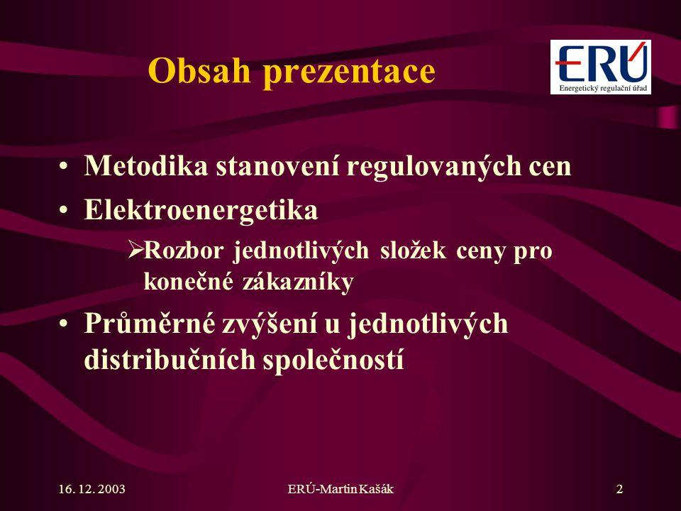 ERÚ-Martin Kašák2 Obsah prezentace Metodika stanovení regulovaných cen Elektroenergetika  Rozbor jednotlivých složek ceny pro konečné zákazníky Průměrné zvýšení u jednotlivých distribučních společností